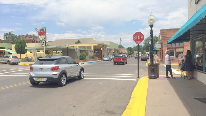 There is a new four-way stop at the corner of Sixth and Broadway in downtown Silver City.