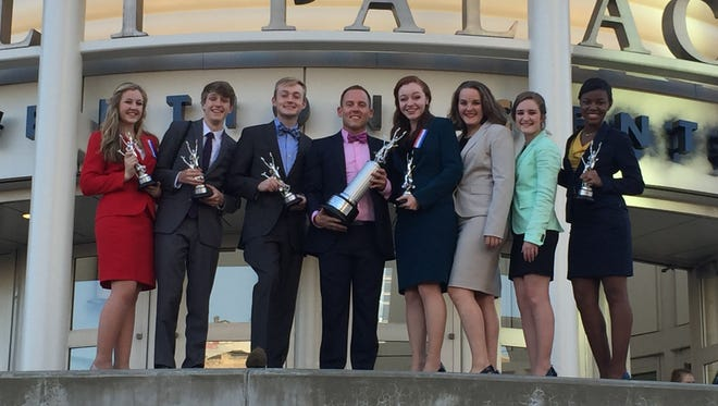Brentwood Academy's speech and debate team made it to the semifinals in a national competition. From left: Grace Smith, Brandon Black, Cooper Smith, Coach Ryan Hubbard, Maddie Jarrard, Katherine Nesbitt, Emmy Hickman, Kayla Williamson
