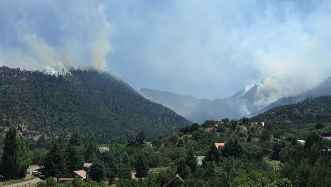 The Saddle Fire burns above the Lloyd's Canyon section of Pine Valley on Friday.