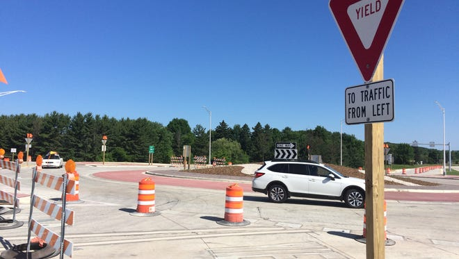 Northbound travelers negotiate Door County's first roundabout Friday morning.