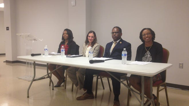 Christiane Buggs, Miranda Christy, Corey Gathings and Erica Lanier participate in a forum Tuesday.