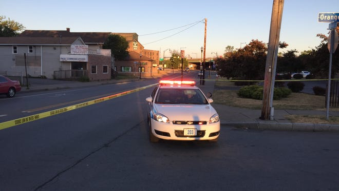 Rochester police on scene of a shooting near 593 W. Broad St. Wednesday.