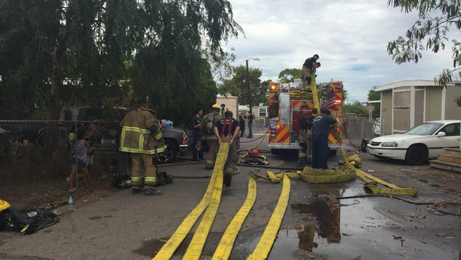 Phoenix fire department responded to calls at 3 p.m. to a mobile home fire in the area of 6400 W. Van Buren St. on Thursday, June 30, 2016.