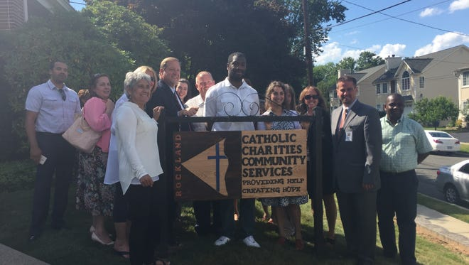 The first project of a new community initiative of the Rockland County Re-Entry Task Force, which assists people re-entering the community from incarceration, was a sign unveiled Wednesday at the Catholic Charities Community Services of Rockland.