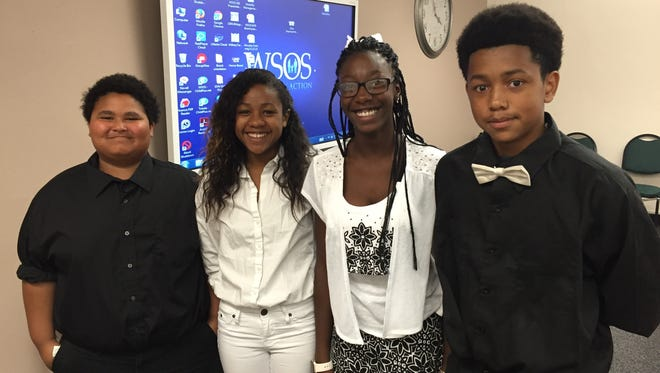 Fremont Middle School students who won a trip to New York and Washington, D.C., are, from left, Brenton Walker, Nadia Kirksey, Ashanti Elkins and Michael Kirksey.