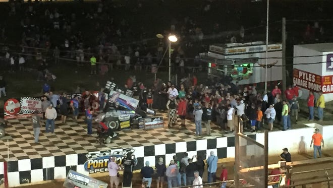 Lucas Wolfe sits in victory lane at Port Royal Speedway on Saturday, July 2.