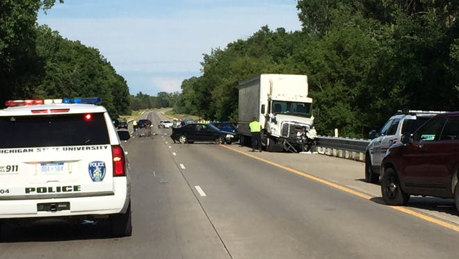 Eight people were hospitalized after a semi truck crashed into cars July 6, 2016 on westbound I-96 near Okemos.