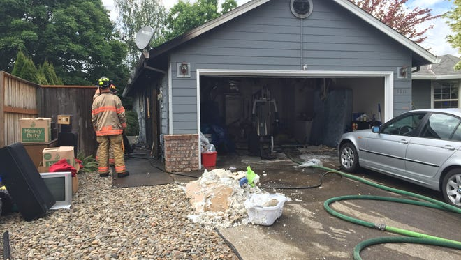 A fire started outside a South Salem home Friday afternoon.