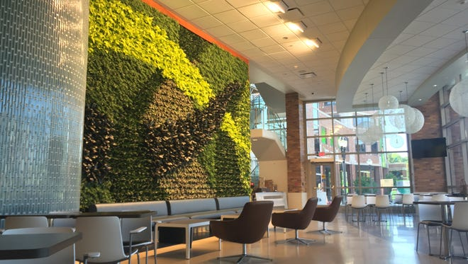 A view of the dining atrium inside the Gathering Place at Sparrow Hospital, which will open on July 21.