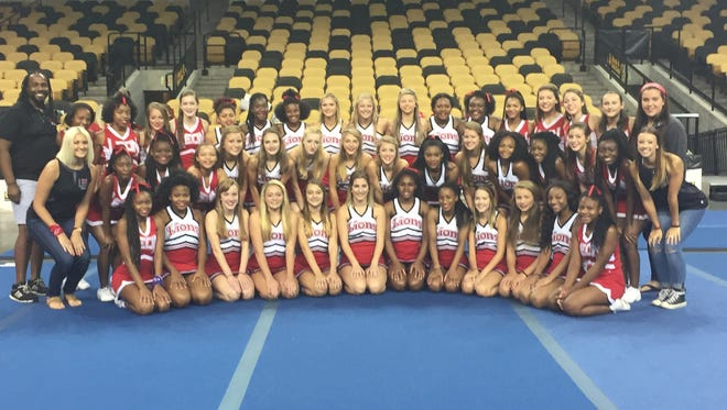 The Leon High School cheerleading team poses for a photo.