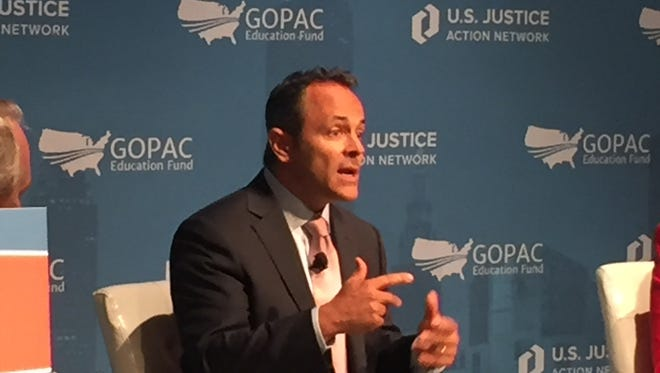 Ky. Gov. Matt Bevin spoke on Tuesday at a forum on criminal justice reform at the RNC