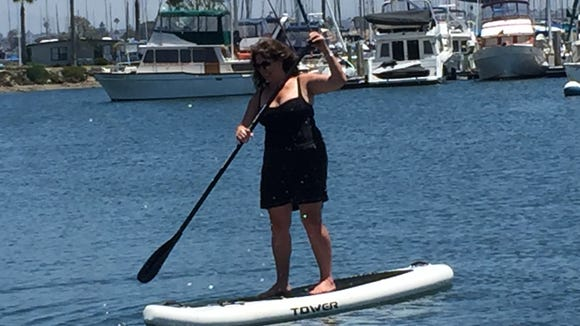 Paddle boarding on Mission Bay in San Diego in July 2016.