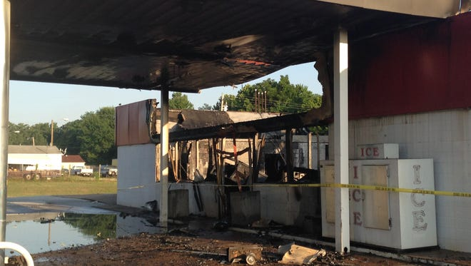 A vacant Super Way gas station was destroyed early Tuesday morning. Officials think the fire is suspicious.