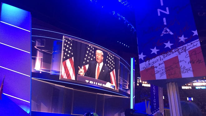 Republican presidential nominee Donald Trump during the Republican National Convention at Quicken Loans Arena in Cleveland, Ohio, on Thursday, July 21, 2016.