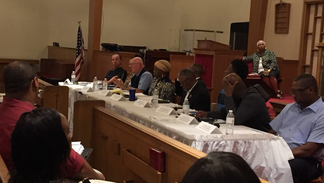 Members of the community take part in a panel discussion Thursday at Shiloh Baptist Church to improve York City.