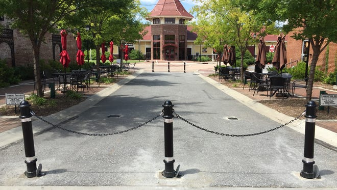 New removable bollards have been installed at this closed portion of Trade Street in downtown Fountain Inn.