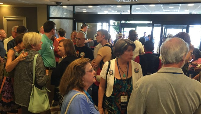 Tennessee delegates gather at their hotel at Valley Forge Casino on Sunday before heading to downtown Philadelphia to kick off the Democratic National Convention.