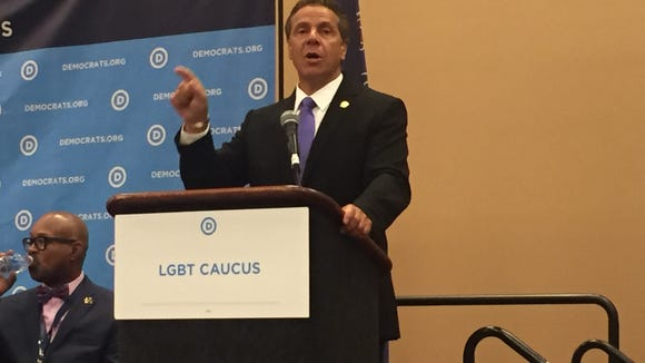 Gov. Andrew Cuomo addresses the LGBT Caucus at an event in conjunction with the Democratic National Convention in Philadelphia on Tuesday, July 26, 2016