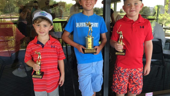 Dylan Winona (center) won his sixth consecutive tournament of the season during the JAG weekly summer tournament at Southgate in 2016. Trey Amico (left) took second and Carson Hunt finished third.