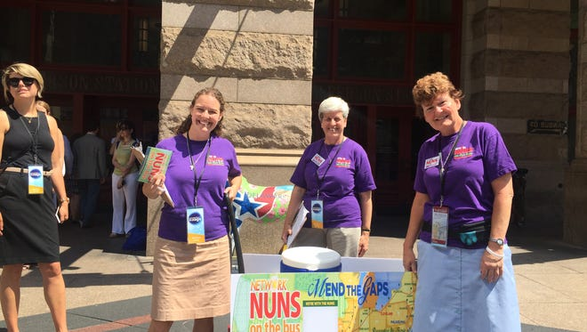 Network Nuns on the Bus are offering cold drinks to people in Philadelphia during the Democratic National Convention.