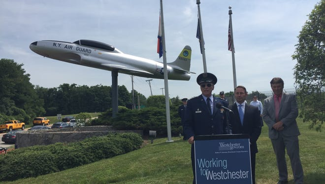 Civil Air Patrol New York Wing South East Group Lt. Col. Joseph Wooley speaks at the rededication of the Lockheed T-33 outside of Westchester County Airport, Thursday, July 28, 2016.