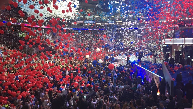 Thousands of balloons cap the final night of the Democratic National Convention.