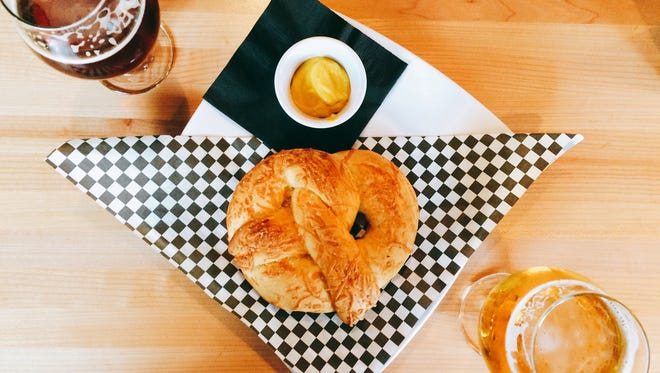 A pretzel and some brews at Fort Collins' newest brewery, Maxline Brewery.