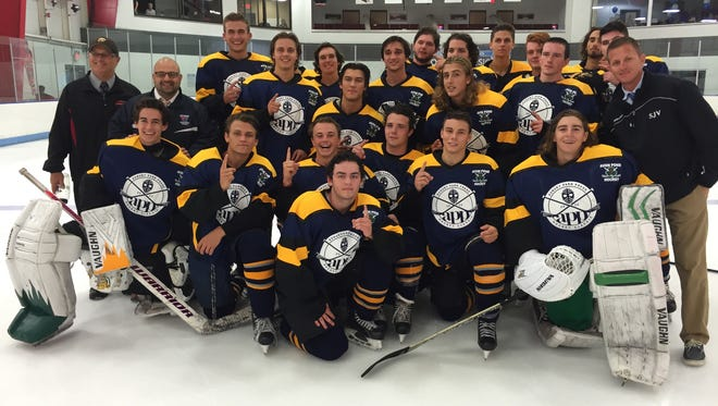 The APP Blue Team (Class A Central/Class A South) celebrates its 9-5 victory in the 2nd APP All-Star Hockey Classic at Middletown Ice World on Sunday.