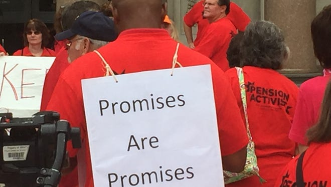 NJEA members and other public workers rallied in Trenton Monday 8/8/16, claiming a promised from Senate President Stephen Sweeney on a pension enhancement has been broken.