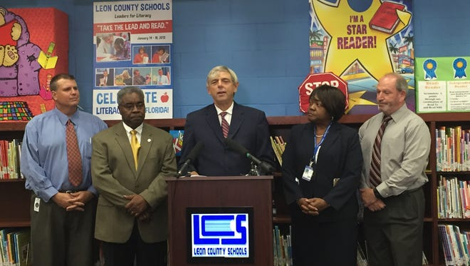 "Superintendent Jackie Pons issues his first-ever ""State of the Schools"" address Monday at Bond Elementary."