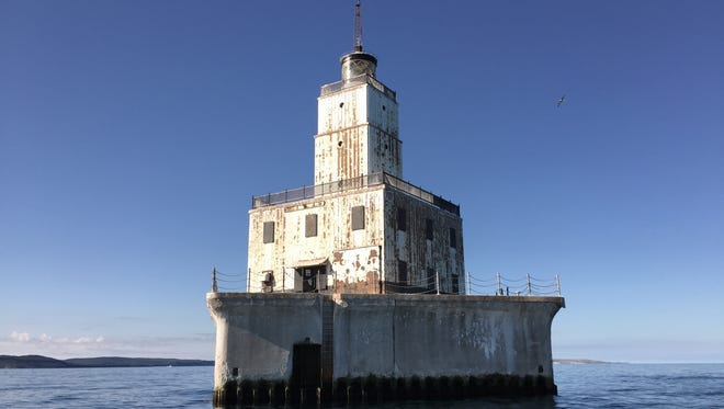 The North Manitou Shoal Light, which sits in Lake Michigan roughly 8 miles off the shore of Leland,  is up for auction.