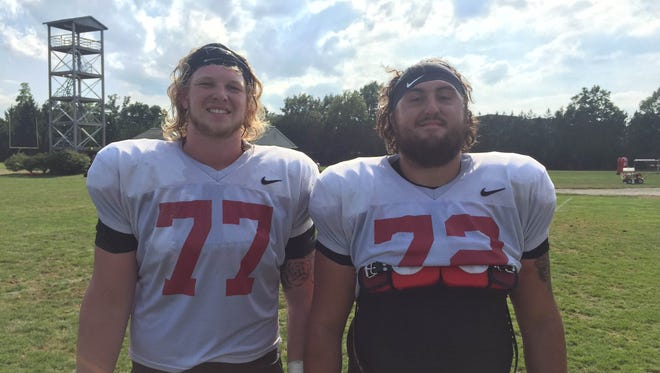 Local products Kaleb Slaven (left) and Anthony Todd are lining up next to one another for Ball State.
