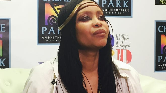 Erykah Badu meets with supporters of the African American 490 Challenge on Saturday morning after her Chene Park concert that helped raise funds to investigate abandoned rape kits.