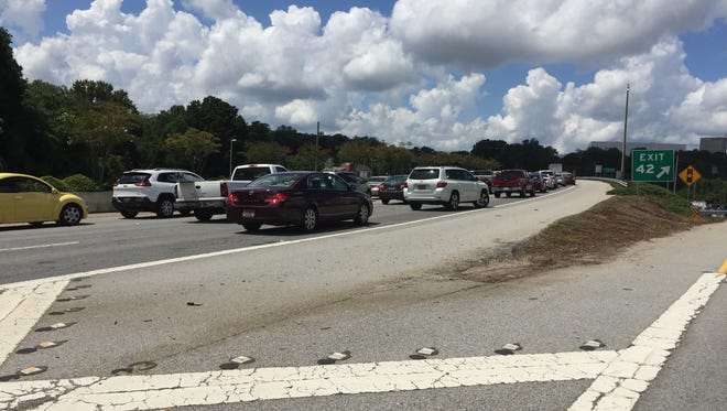 Photo shows the backups on I-385.