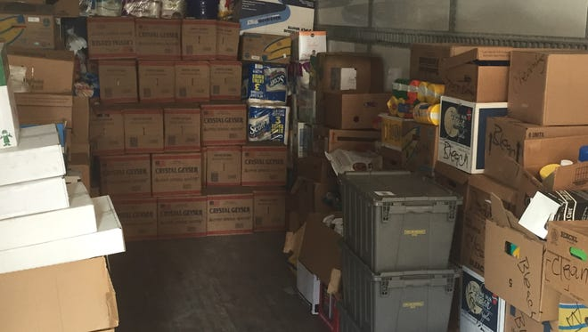 Donations were loaded into South Alabama's football equipment truck to bring to Louisiana flood victims.