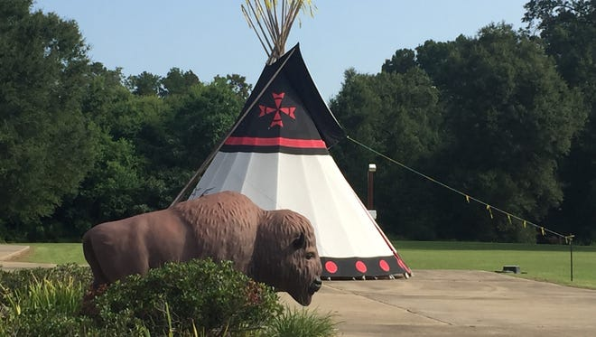 Outside the Adai Caddo Indian Nation Cultural Center in Robeline, Louisiana.
