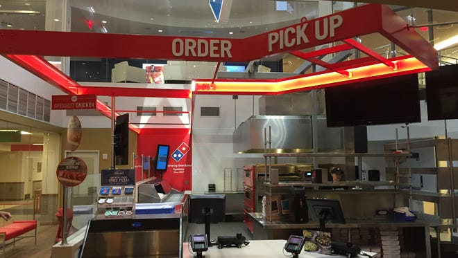 The demonstration kitchen at Domino's Pizza headquarters in Ann Arbor, Mich. in August 2016.