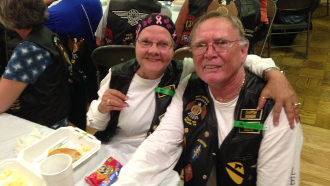 Lou Holsonback and wife Nancy from Enville, enjoy lunch at American Legion Post 90 during the American Legacy Run.