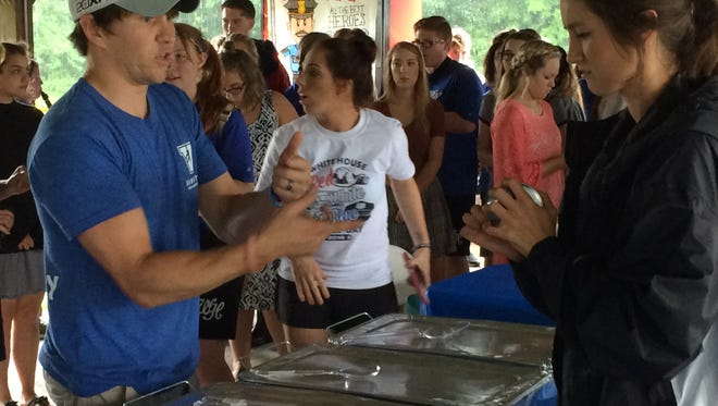 Police, fire and emergency medical service workers were treated to a free meal during the two-hour event.