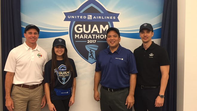United Airlines will be the title sponsor of the Guam International Marathon, it was announced Aug. 23. From left, Ben Ferguson, CarmelaTyquiengco, Sam Shinihara and Nathan Denight.