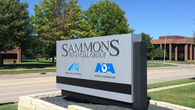 A sign for Sammons Financial Group outsides its West Des Moines office on Monday, Aug. 22, 2016.