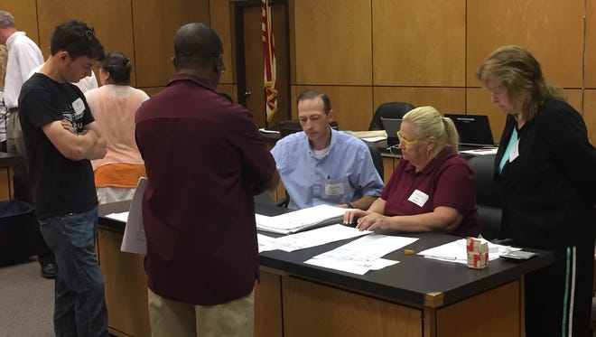 Mt. Clemens City Commission race from Aug. 2, 2016 election is recounted Aug. 26, 2016 in Mt. Clemens city hall.