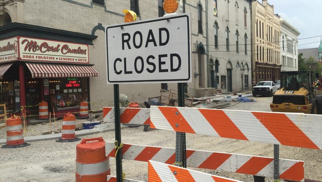 The 200 block of North Sixth Street remains closed while crews replace sidewalks and brick streets for a new look in Lafayette's ongoing downtown streetscape project.