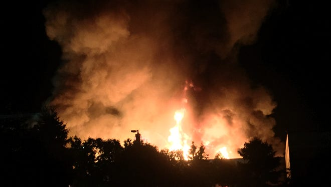 Fire comes from the Gap distribution center in Fishkill late Monday night.