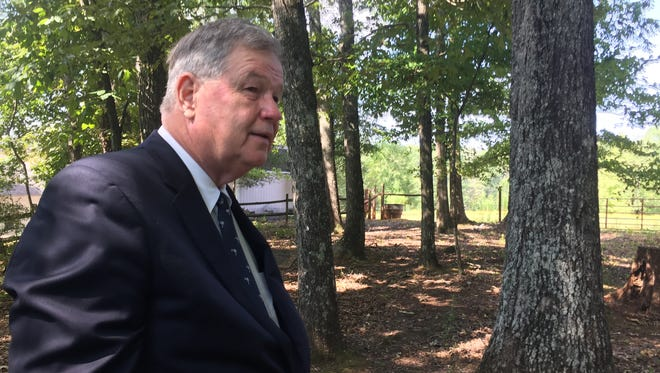 Gubernatorial candidate Yancey McGill at the Travelers Rest cemetery where Dicey Langston is buried.