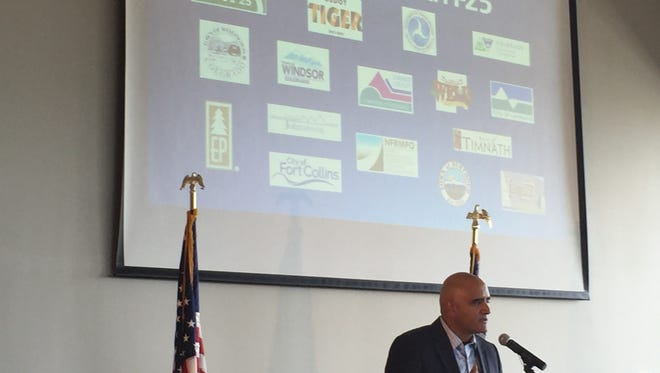 Shailen Bhatt, executive director of Colorado Department of Transportation, addresses the audience during a reception at The Ranch on Wednesday celebrating the cooperative effort that secured funding to expand North I-25.