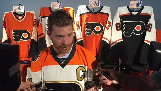 Philadelphia Flyers Claude Giroux discusses the jersey the Flyers will wear 12 times this year for their golden anniversary season.