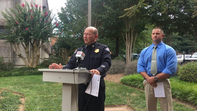 Greenville Police Chief Ken Miller and Sheriff's Office Master Deputy Ryan Flood address the recent clown sightings Thursday.