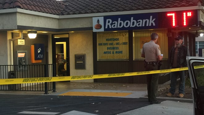Authorities investigate the robbery of a Rabobank in Oak View on Friday evening. The bank also had been robbed less than a month earlier.