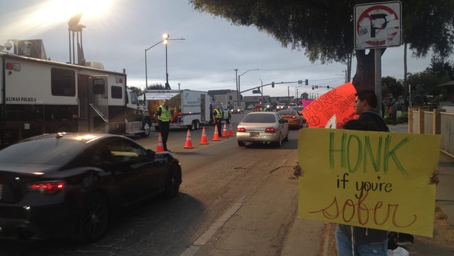 FILE: Salinas police conducted a DUI/driver's license checkpoint on Williams Road in 2016.